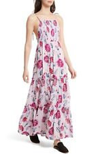 Free People Garden Party Floral Print Maxi Dress Purple Combo Size S
