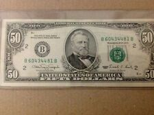 $50 US 1990 Error Note. USA in rev. bled through the obv. 3rd pnt.off bad. GREEN