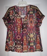 ELLEN TRACY MULTI COLOR BEADED AZTEC TRIBAL PRINT L BLOUSE TOP EUC