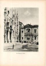 Stampa antica scorcio della CERTOSA DI PAVIA Grossi 1933 Old print