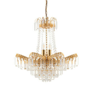 9 Light Chandelier Gold Plate & Faceted Glass Dimmable Adjustable Dia: 550mm