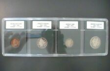 US Type Set of 4 Coins in Hard Plastic Holder including Barber Silver Coins