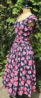 Vintage LAURA ASHLEY 1950's Style Black Floral Occasion Summer Dress - UK 10/12