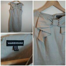 Warehouse Pussy Bow Mod Madmen Pure Linen Shift Tunic Dress Office Work UK10