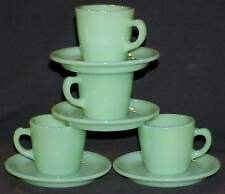 FOUR 4 FIRE KING JADEITE JADITE RESTAURANT WARE G215 CUPS~G295 SAUCERS EXCELLENT