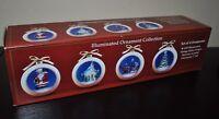 NEW Mr. CHRISTMAS Illuminated Ornament Collection SET/4 Ornaments Glitter