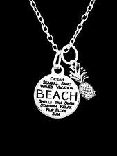 Beach Charm Necklace Pineapple Nautical Seashell Palm Tree Christmas Gift