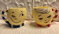 Vintage Set Of 2 Plastic Cups  F.&F. Mold & Die Works  Cute Mr & Mrs Cups 1960's