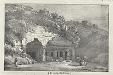 1837 La grotta dell'Elefante Valstagna Vicenza litografia