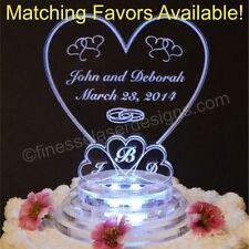 LED Monogram Heart Shaped Lighted Wedding Cake Topper Acrylic Custom Engraved