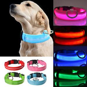 LED Dog Pet Collar Flashing Luminous Adjustable Safety Light Up Nylon Tag 5 Size
