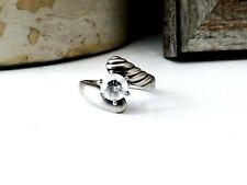 Sterling Silver Wedding Band Diamonique DQ CZ Bridal Engagement Size 8.5 Ring