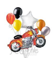 7 pc Fire Flames Motorcycle Balloon Bouquet Hot Rod Happy Birthday Biker Harley