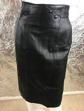 Women's Vintage 1980's Black Genuine Leather High Waist Pencil Skirt, Size S/M