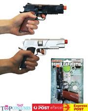 Police Pistol Silver or Black Diecast Cap Costume Toy Gun Gansgter Cowboy
