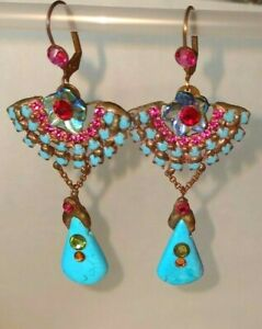 Laly Cohen Handmade Designer Earrings Copper Crystals Stones