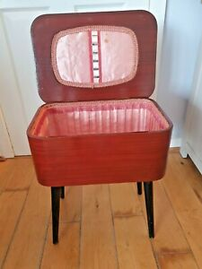 Vintage Wooden Red Laqueur Sewing Box Mid Century Fabric Interior Dansette Legs
