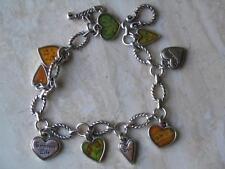 "~Brighton Bracelet ""Embrace Life"" Heart Charms Silvertone Nwot!~"