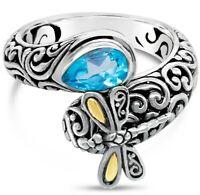 DEVATA Bali Dragonfly Sterling Silver 925 Ring 18K Gold Sw Blue Topaz SFM8537SW