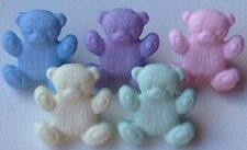 Teddy Bear Buttons Children's Crafts 16x14mm Baby Colours Pack Sizes 6/12/25/50