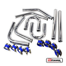 "Universal 2.5"" Aluminum Intercooler Pipe Kit with Blue Couplers + T-Bolt Clamps"