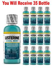 (35-Pack) Listerine Mouthwash Cool Mint Antiseptic Bad Breath Travel Size 3.2oz