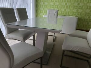 Rectangle Tempered Glass Dining Table 8 Soft Faux Chucky Leather Chairs In Whit