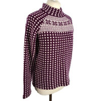 M&S Size 12 Purple Violet High Neck Wool Blend Jumper Winter Scandi Style
