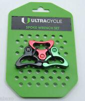 Ultracycle Tool Bicycle Wheel Spoke Wrench Set of 3, 3.2 - 3.3 - 3.5