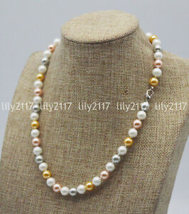 Fashion 8mm White Gold Pink Gray Akoya Shell Pearl Round Beads Necklaces 16-36''