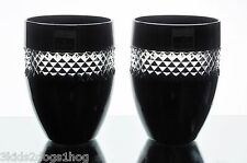 2 Waterford John Rocha Black Cut to Clear Cased Crystal DOF Whiskey Glasses New