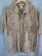 Columbia Hawaiian Style Camp Shirt Size Large Green & Beige Foliage Print