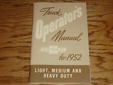 1952 Chevrolet Truck Owners Operators Manual 52 Chevy Light Medium Heavy Duty