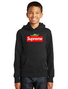 Hoodie Hooded Sweatshirt Supreme REPLICA Youth Kids Black Star Wars Baby Yoda