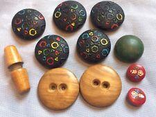 Vintage ART DECO & RETRO, Lot Of 11 wood Buttons largest 35mm,COLLECTORS BUTTONS