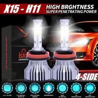 2x 4-Sides H11 CREE LED Headlight Kit 2000W H8 H9 300000LM 6000K High Power Bulb