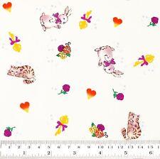 Cotton Fabric FQ - Kitten Cat Bow Rabbit Rose Flower Star Key Heart Cartoon VS34