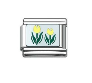 9mm Italian Charms E76 Spring Flower Pot  Plant Tulip Yellow Fits Classic Size