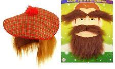 SCOTTISH HAT BEARD & EYEBROW SET Tam O Shanter Fancy Dress Ginger Wig Tartan