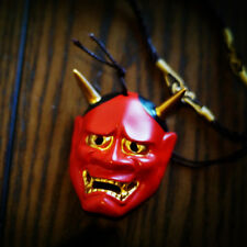 Vintage Handmade Red Hannya Necklace Pendant Evil Oni Noh HANNY Pendant Necklace