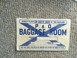 VINTAGE P&O CRUISE early shipping Trunk LUGGAGE LABEL