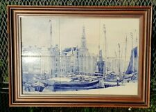 DELFT BLUE FRAMED 6 TILE TABLEAU OF OLD AMSTERDAM HOLLAND SIGNED