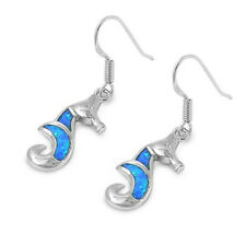 Cute Blue Australian Opal Sea Horse .925 Sterling Silver Earring