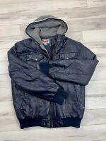 VTG LEVI'S Men's Dark Blue Vegan Leather Moto Biker Jacket Zip-Up w/Hood Sz M
