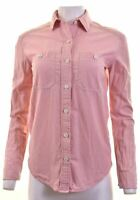 JACK WILLS Womens Shirt UK 8 Small Pink Cotton Boyfriend FQ07