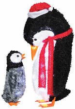 Penguin Mommy and Baby Fuzzy Plush Yard Prop Decoration Gemmy Lighted Christmas