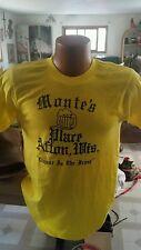 vintage dead stock t shirt liquor front poker rear medium 70's WISCONSIN yellow