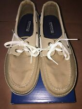 Sperry Top Sider Cruz Khaki Canvas Loafer Boat Shoes Youth (Boys) - Size 5 M