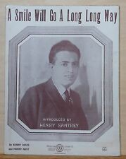 A Smile Go A Long Long Way - 1923 sheet music - Henry Santrey photo cover