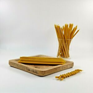 #100 50pcs Beeswax yellow church Candles cotton wick Honey scented 6.7''(17.5cm)